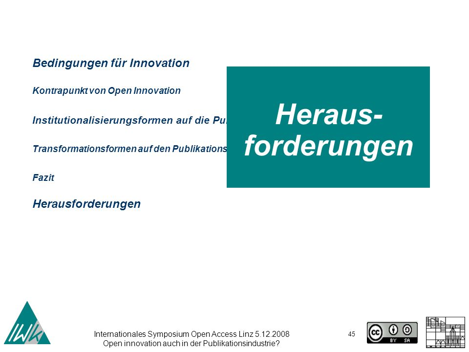 Internationales Symposium Open Access Linz 5.12.2008 Open innovation auch in der Publikationsindustrie? 45 Bedingungen für Innovation Kontrapunkt von