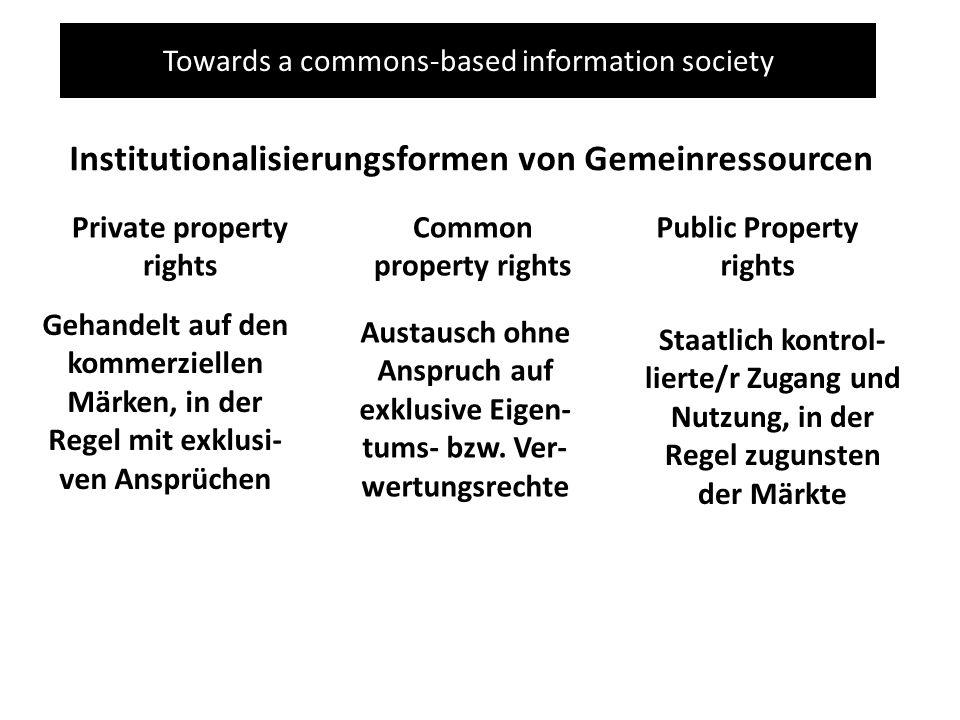 Towards a commons-based information society Institutionalisierungsformen von Gemeinressourcen Private property rights Gehandelt auf den kommerziellen