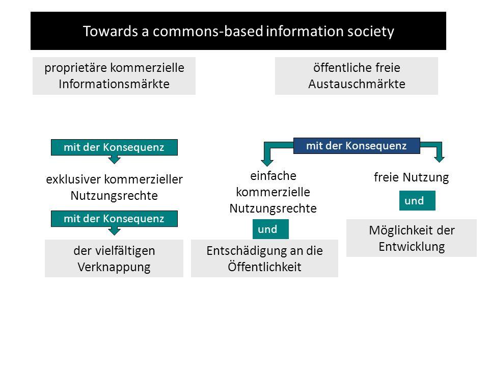 Towards a commons-based information society proprietäre kommerzielle Informationsmärkte öffentliche freie Austauschmärkte exklusiver kommerzieller Nutzungsrechte mit der Konsequenz Entschädigung an die Öffentlichkeit und mit der Konsequenz der vielfältigen Verknappung und Möglichkeit der Entwicklung freie Nutzung einfache kommerzielle Nutzungsrechte mit der Konsequenz