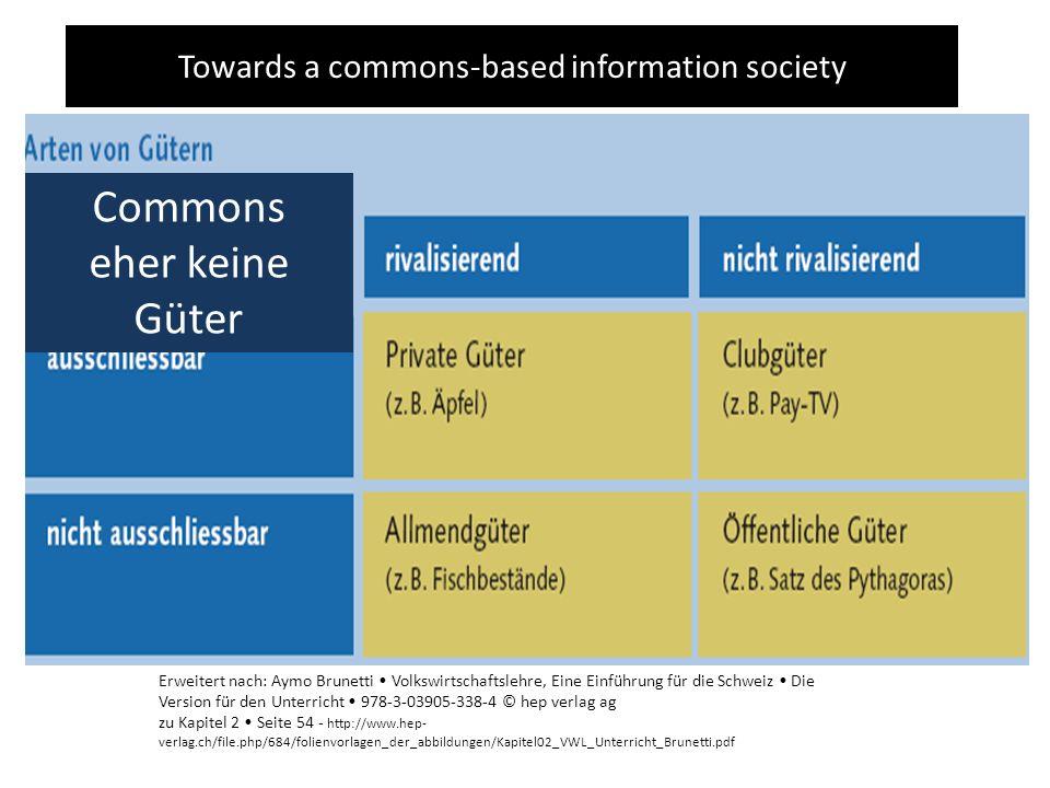Towards a commons-based information society Erweitert nach: Aymo Brunetti Volkswirtschaftslehre, Eine Einführung für die Schweiz Die Version für den U