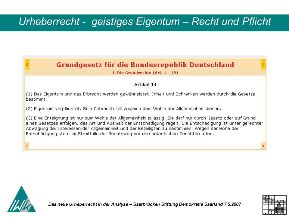 Das neue Urheberrecht in der Analyse – Saarbrücken Stiftung Demokratie Saarland 7.5.2007 Urheberrecht - geistiges Eigentum – Recht und Pflicht