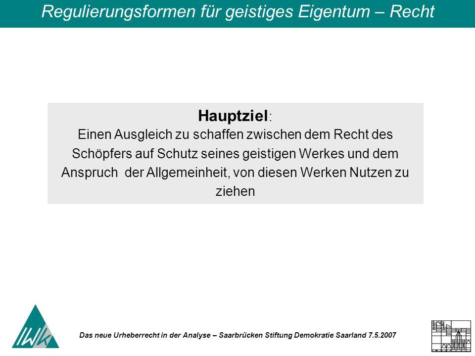Das neue Urheberrecht in der Analyse – Saarbrücken Stiftung Demokratie Saarland 7.5.2007 Hauptziel : Einen Ausgleich zu schaffen zwischen dem Recht de