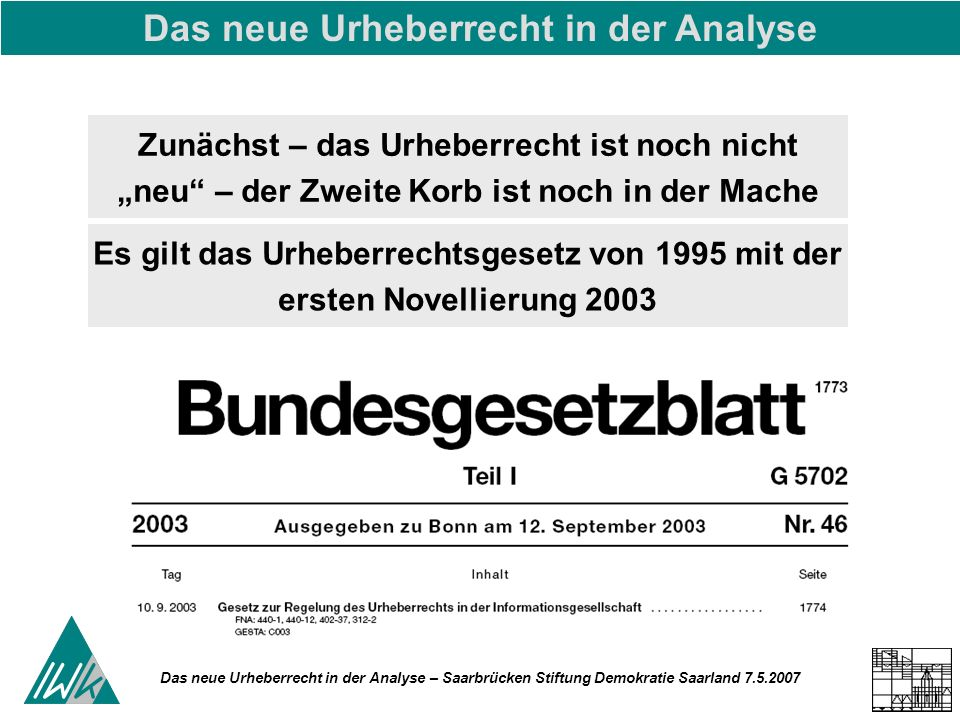 Das neue Urheberrecht in der Analyse – Saarbrücken Stiftung Demokratie Saarland 7.5.2007 Zunächst – das Urheberrecht ist noch nicht neu – der Zweite Korb ist noch in der Mache Das neue Urheberrecht in der Analyse Es gilt das Urheberrechtsgesetz von 1995 mit der ersten Novellierung 2003