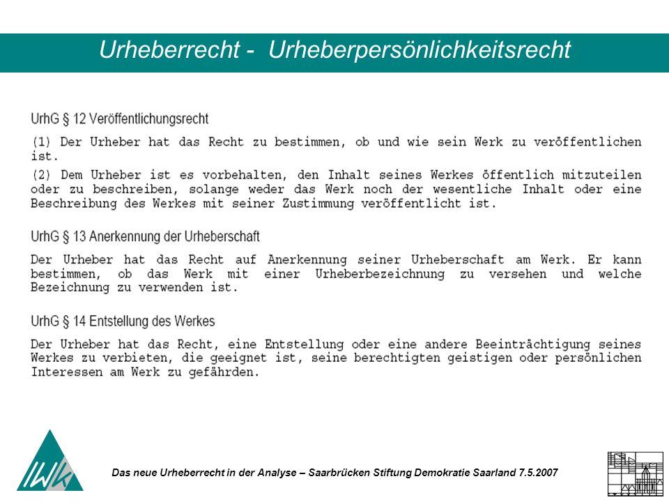 Das neue Urheberrecht in der Analyse – Saarbrücken Stiftung Demokratie Saarland 7.5.2007 Urheberrecht - Urheberpersönlichkeitsrecht