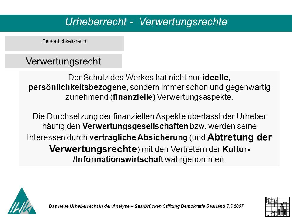 Das neue Urheberrecht in der Analyse – Saarbrücken Stiftung Demokratie Saarland 7.5.2007 Urheberrecht - Verwertungsrechte Der Schutz des Werkes hat nicht nur ideelle, persönlichkeitsbezogene, sondern immer schon und gegenwärtig zunehmend (finanzielle) Verwertungsaspekte.