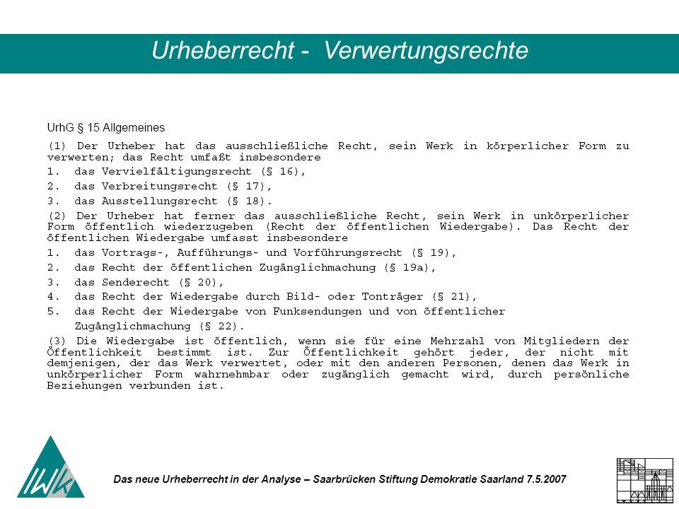 Das neue Urheberrecht in der Analyse – Saarbrücken Stiftung Demokratie Saarland 7.5.2007 Urheberrecht - Verwertungsrechte