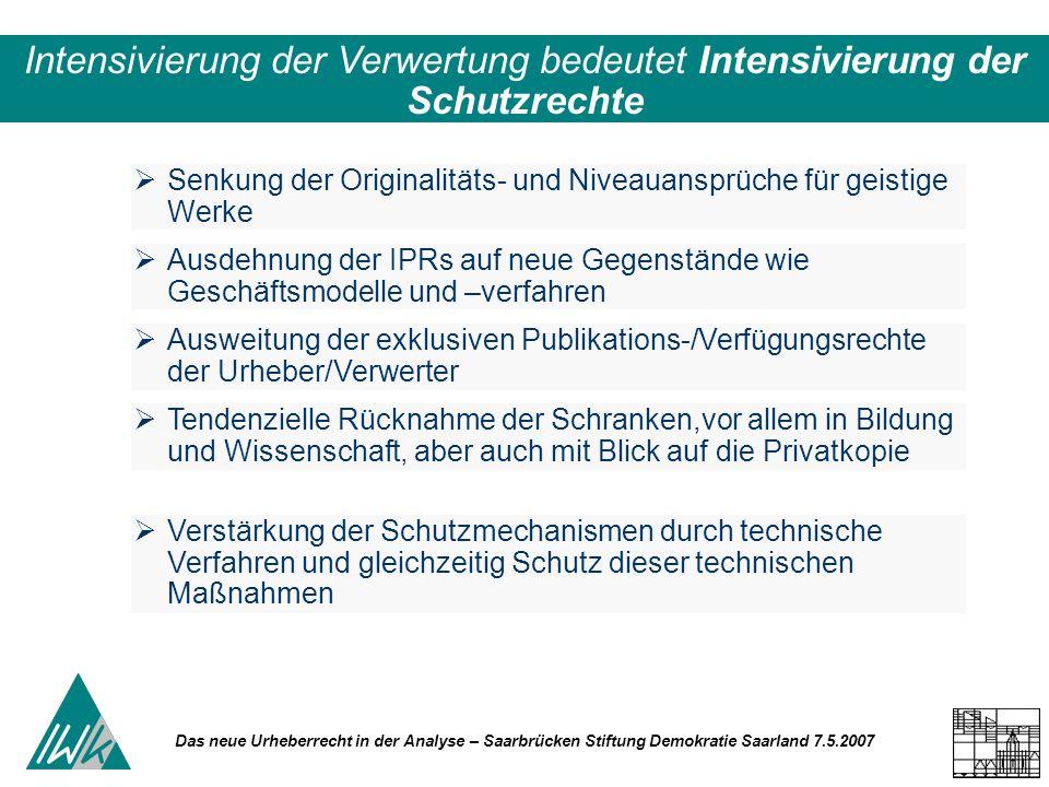 Das neue Urheberrecht in der Analyse – Saarbrücken Stiftung Demokratie Saarland 7.5.2007 Senkung der Originalitäts- und Niveauansprüche für geistige W
