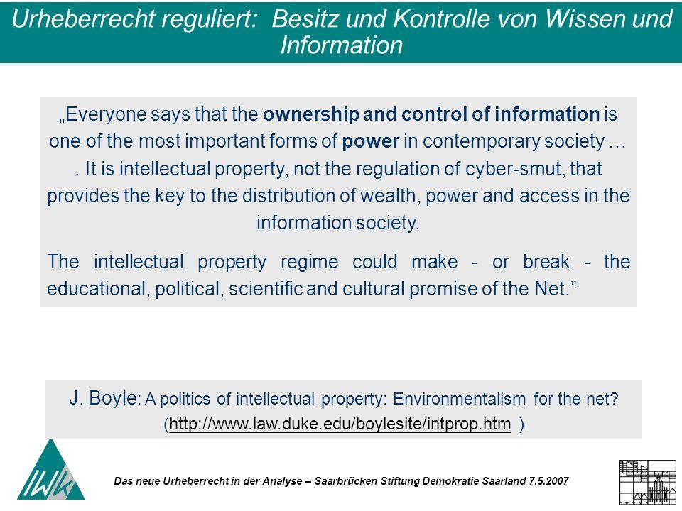 Das neue Urheberrecht in der Analyse – Saarbrücken Stiftung Demokratie Saarland 7.5.2007 Urheberrecht - Verwertungsrechte Die Verwertungsrechte werden durch vertragliche Absicherung den Vertretern der Kultur-/Informationswirtschaft übertragen.