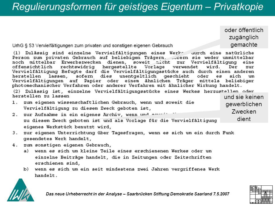 Das neue Urheberrecht in der Analyse – Saarbrücken Stiftung Demokratie Saarland 7.5.2007 Regulierungsformen für geistiges Eigentum – Privatkopie oder