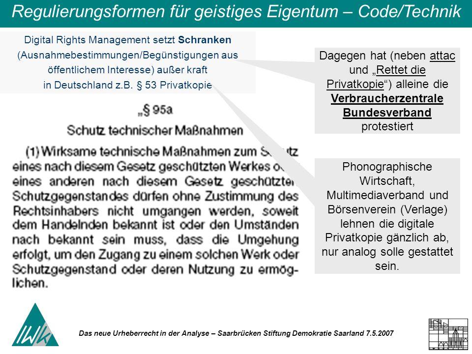 Das neue Urheberrecht in der Analyse – Saarbrücken Stiftung Demokratie Saarland 7.5.2007 Regulierungsformen für geistiges Eigentum – Code/Technik Digi
