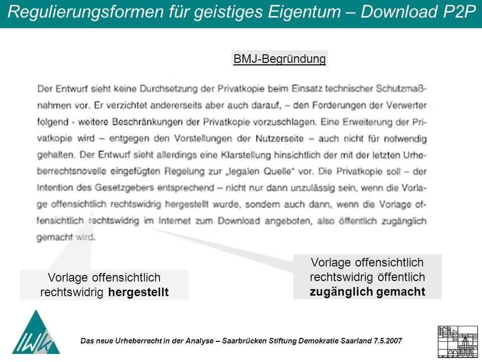 Das neue Urheberrecht in der Analyse – Saarbrücken Stiftung Demokratie Saarland 7.5.2007 Regulierungsformen für geistiges Eigentum – Download P2P Vorl