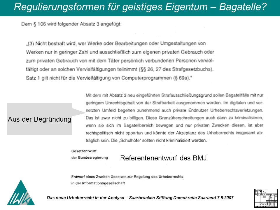 Das neue Urheberrecht in der Analyse – Saarbrücken Stiftung Demokratie Saarland 7.5.2007 Regulierungsformen für geistiges Eigentum – Bagatelle.