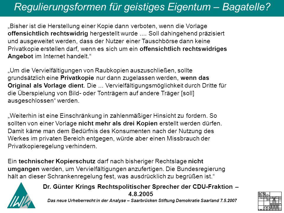 Das neue Urheberrecht in der Analyse – Saarbrücken Stiftung Demokratie Saarland 7.5.2007 Regulierungsformen für geistiges Eigentum – Bagatelle? Bisher