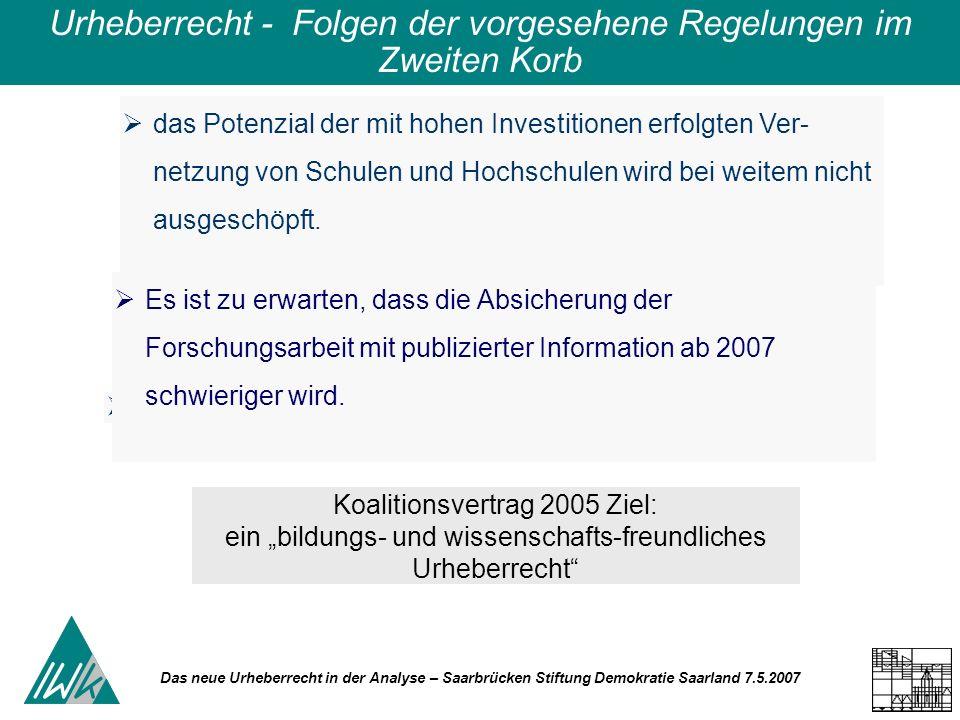 Das neue Urheberrecht in der Analyse – Saarbrücken Stiftung Demokratie Saarland 7.5.2007 Urheberrecht - Folgen der vorgesehene Regelungen im Zweiten Korb das Potenzial der mit hohen Investitionen erfolgten Ver- netzung von Schulen und Hochschulen wird bei weitem nicht ausgeschöpft.