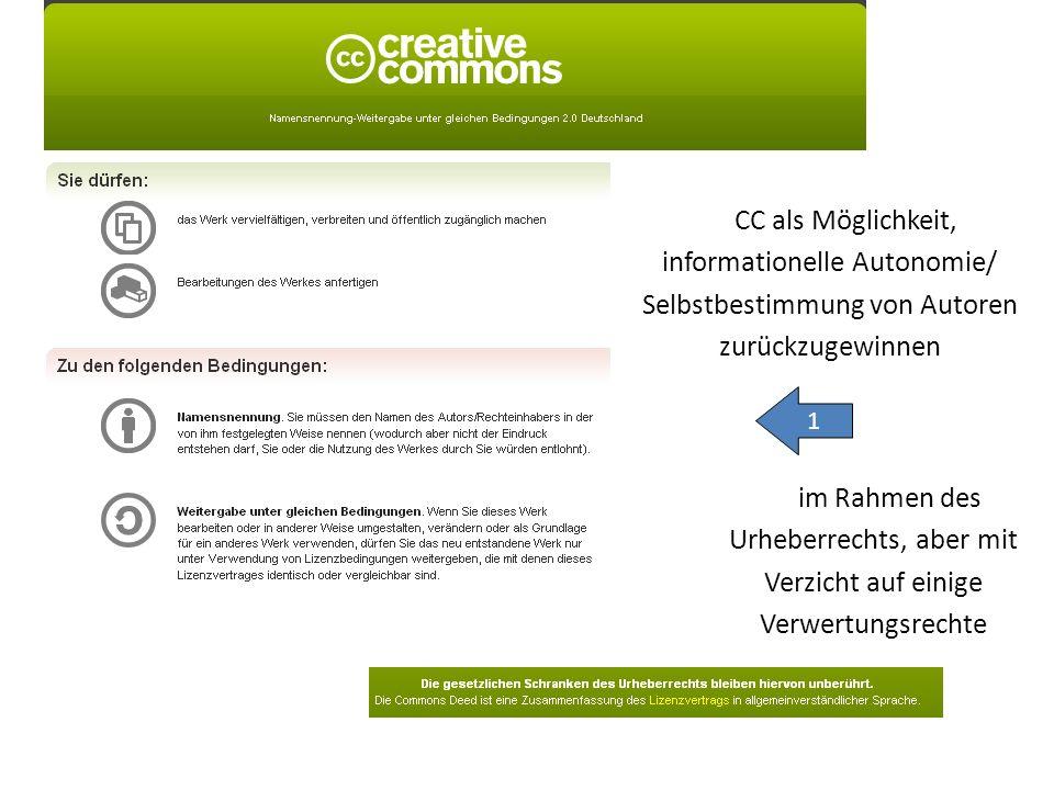 CC als Möglichkeit, informationelle Autonomie/ Selbstbestimmung von Autoren zurückzugewinnen 1 im Rahmen des Urheberrechts, aber mit Verzicht auf einige Verwertungsrechte