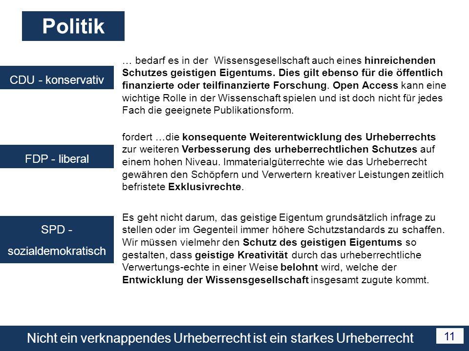 Nicht ein verknappendes Urheberrecht ist ein starkes Urheberrecht 11 Politik CDU - konservativ … bedarf es in der Wissensgesellschaft auch eines hinreichenden Schutzes geistigen Eigentums.
