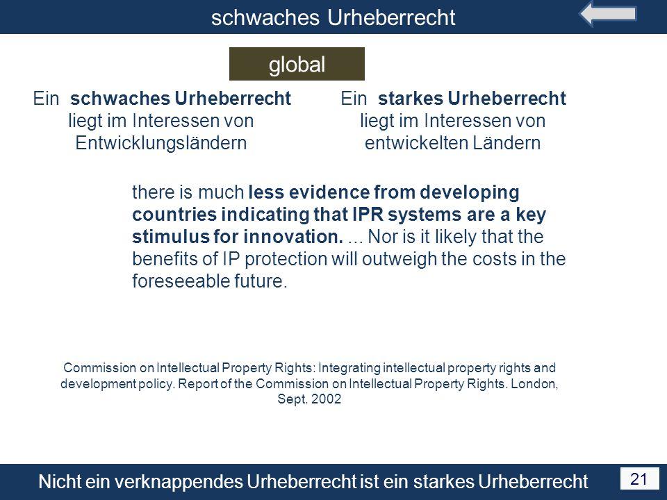 Nicht ein verknappendes Urheberrecht ist ein starkes Urheberrecht 21 schwaches Urheberrecht global Ein schwaches Urheberrecht liegt im Interessen von
