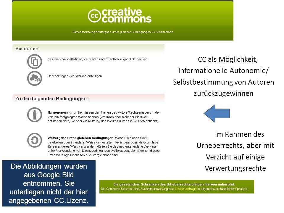 CC als Möglichkeit, informationelle Autonomie/ Selbstbestimmung von Autoren zurückzugewinnen im Rahmen des Urheberrechts, aber mit Verzicht auf einige Verwertungsrechte Die Abbildungen wurden aus Google Bild entnommen.