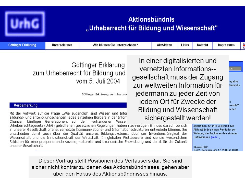 23 Regulierungsinstanzen für W&I – Bundesregierung will irrevocably alter the landscape of international copyright law by impacting the rights of German authors, publishers and digital libraries The proposed Settlement is contrary to both the Berne Convention and the WCT WIPO].