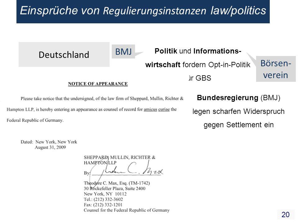 20 Einsprüche von Regulierungsinstanzen law/politics Deutschland Politik und Informations- wirtschaft fordern Opt-in-Politik für GBS BMJ Börsen- verein Bundesregierung (BMJ) legen scharfen Widerspruch gegen Settlement ein