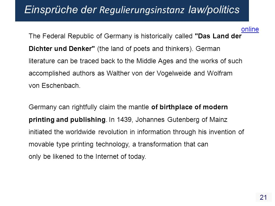 21 The Federal Republic of Germany is historically called