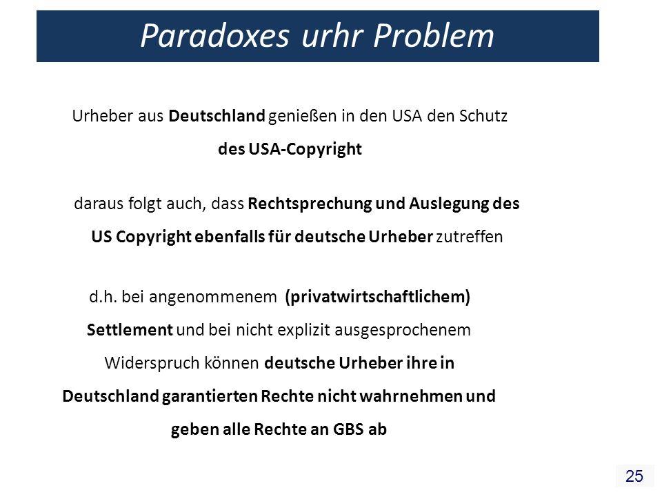 25 Paradoxes urhr Problem Urheber aus Deutschland genießen in den USA den Schutz des USA-Copyright daraus folgt auch, dass Rechtsprechung und Auslegung des US Copyright ebenfalls für deutsche Urheber zutreffen d.h.
