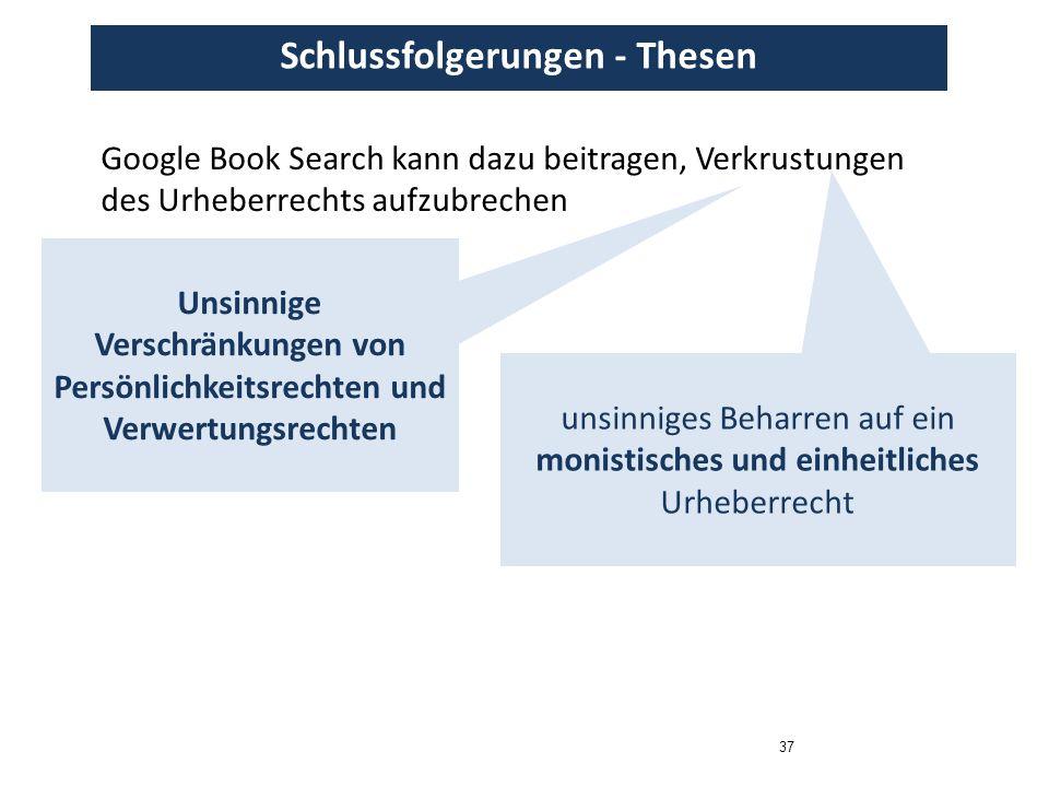 37 Schlussfolgerungen - Thesen Google Book Search kann dazu beitragen, Verkrustungen des Urheberrechts aufzubrechen Unsinnige Verschränkungen von Persönlichkeitsrechten und Verwertungsrechten unsinniges Beharren auf ein monistisches und einheitliches Urheberrecht