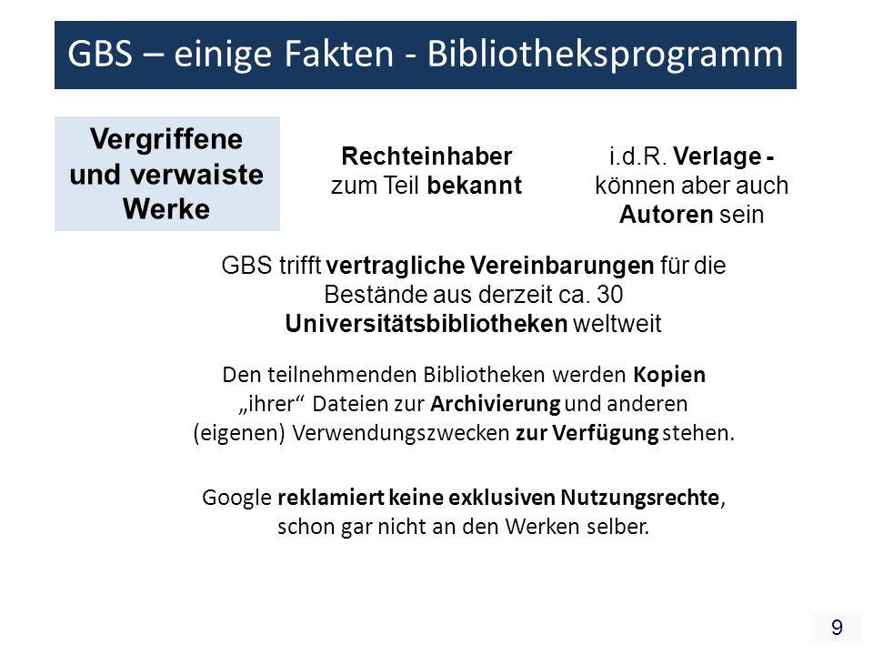10 GBS – einige Fakten - Bibliotheksprogramm urheberrechtlich Nach deutschen UrhR wäre GBS Digitalisieren ein UrhR-Verstoß Vervielfältigung öffentliche Zugänglichmachung Scannen ist Vervielfältigung Aktion des Scannen geschieht aber in den USA (bislang auch mit Blick auf die Suchmaschine) – deutsches Recht in diesem Fall irrelevant