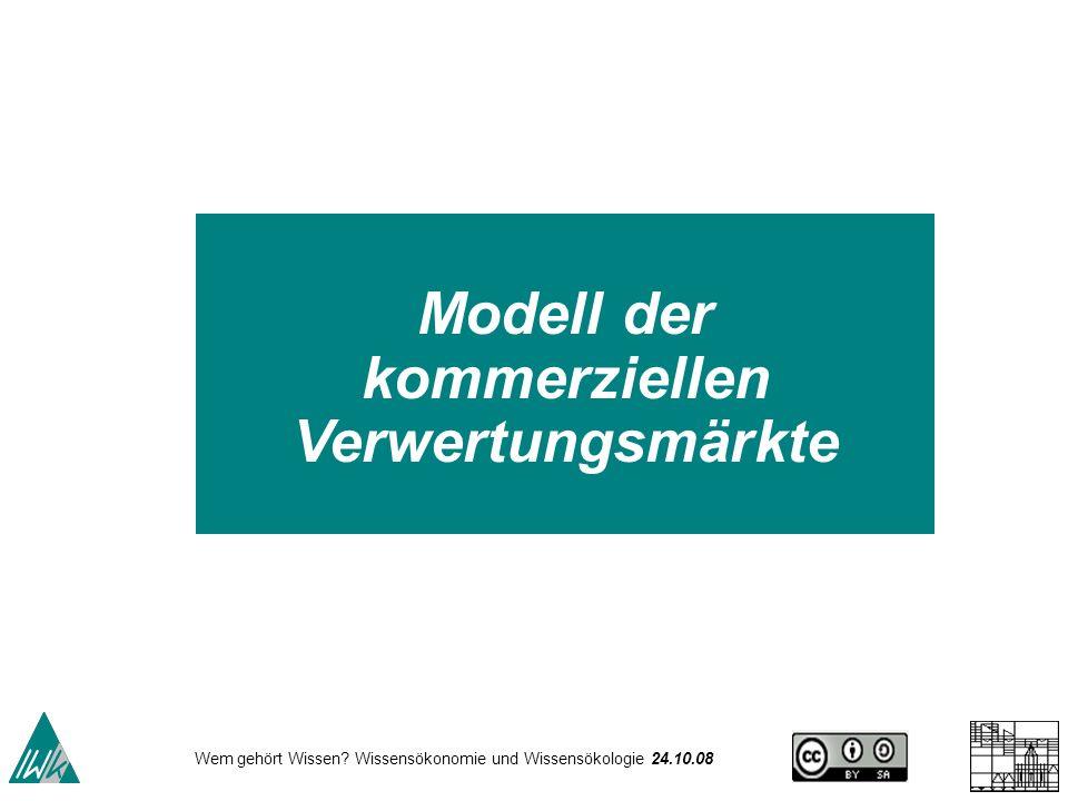 Wem gehört Wissen? Wissensökonomie und Wissensökologie 24.10.08 Modell der kommerziellen Verwertungsmärkte