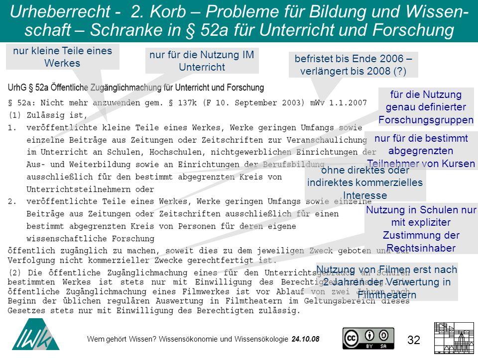 Wem gehört Wissen? Wissensökonomie und Wissensökologie 24.10.08 32 Urheberrecht - 2. Korb – Probleme für Bildung und Wissen- schaft – Schranke in § 52