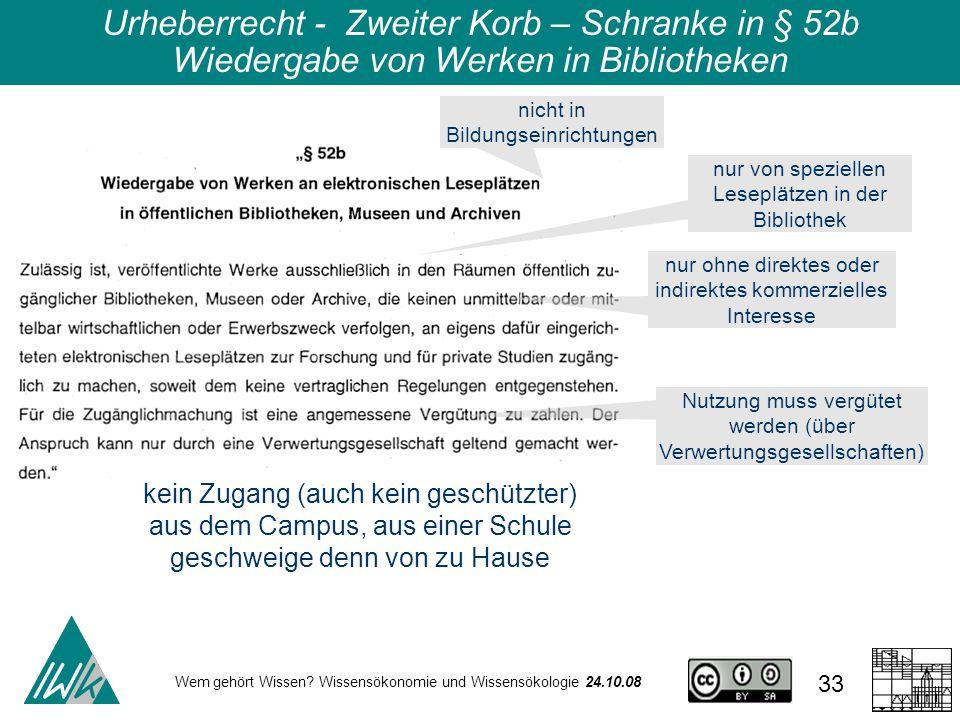 Wem gehört Wissen? Wissensökonomie und Wissensökologie 24.10.08 33 Urheberrecht - Zweiter Korb – Schranke in § 52b Wiedergabe von Werken in Bibliothek