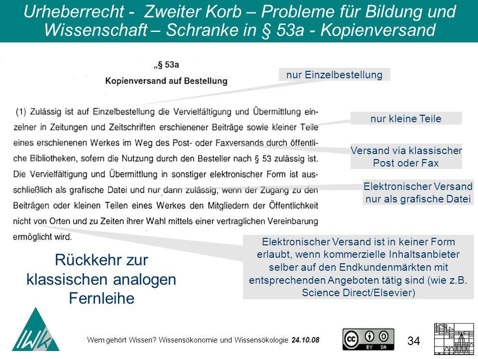 Wem gehört Wissen? Wissensökonomie und Wissensökologie 24.10.08 34 Urheberrecht - Zweiter Korb – Probleme für Bildung und Wissenschaft – Schranke in §