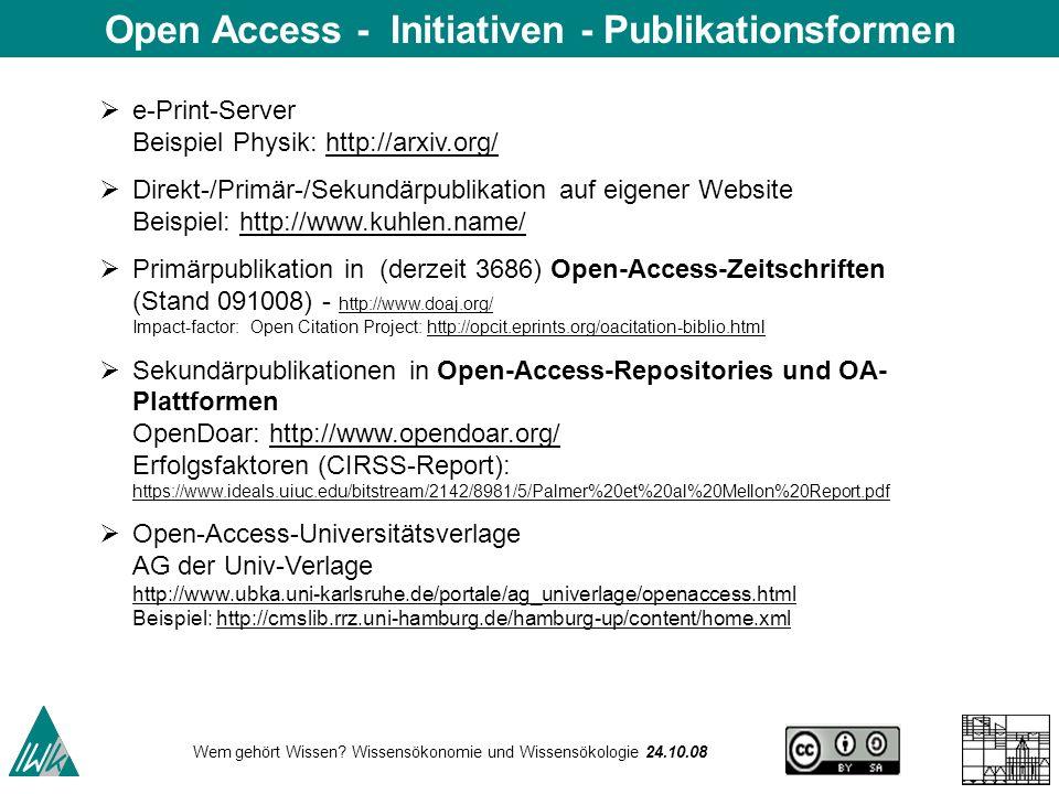Wem gehört Wissen? Wissensökonomie und Wissensökologie 24.10.08 e-Print-Server Beispiel Physik: http://arxiv.org/http://arxiv.org/ Direkt-/Primär-/Sek