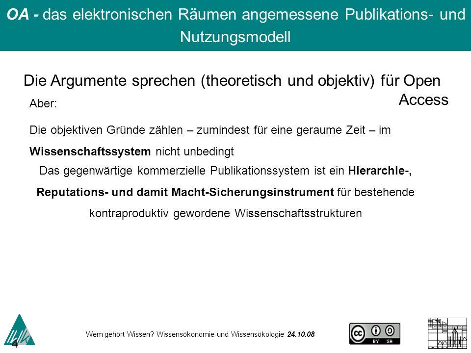 Wem gehört Wissen? Wissensökonomie und Wissensökologie 24.10.08 48 Die Argumente sprechen (theoretisch und objektiv) für Open Access Aber: Die objekti