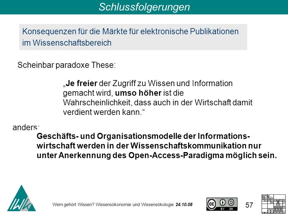 Wem gehört Wissen? Wissensökonomie und Wissensökologie 24.10.08 57 Konsequenzen für die Märkte für elektronische Publikationen im Wissenschaftsbereich