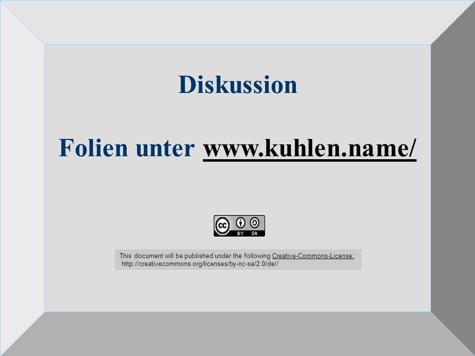 Wem gehört Wissen? Wissensökonomie und Wissensökologie 24.10.08 61 Diskussion Folien unter www.kuhlen.name/www.kuhlen.name/ This document will be publ