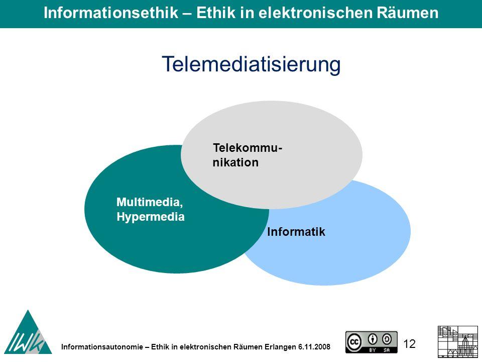12 Informationsautonomie – Ethik in elektronischen Räumen Erlangen 6.11.2008 Telemediatisierung Informatik Multimedia, Hypermedia Telekommu- nikation Informationsethik – Ethik in elektronischen Räumen