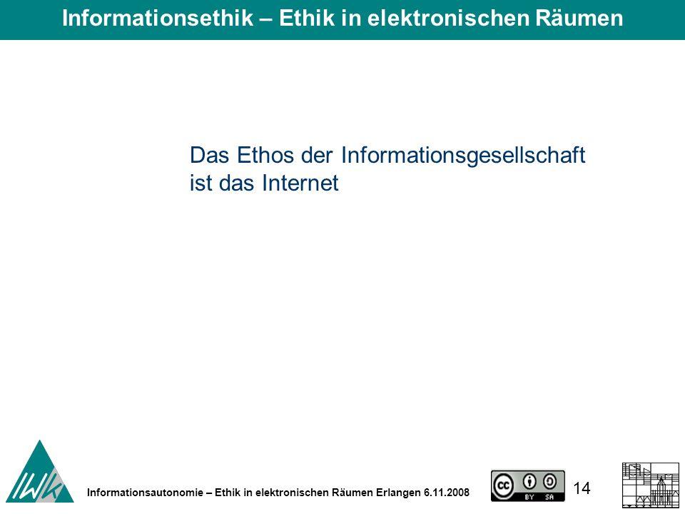 14 Informationsautonomie – Ethik in elektronischen Räumen Erlangen 6.11.2008 Das Ethos der Informationsgesellschaft ist das Internet Informationsethik – Ethik in elektronischen Räumen