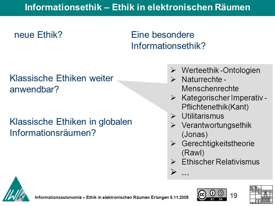 19 Informationsautonomie – Ethik in elektronischen Räumen Erlangen 6.11.2008 neue Ethik.