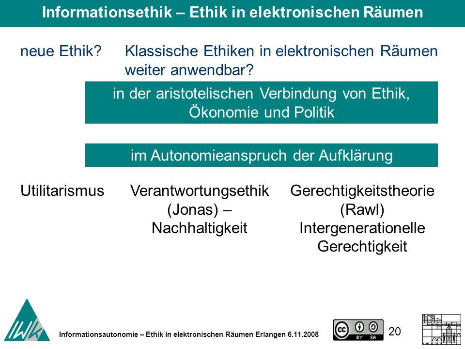 20 Informationsautonomie – Ethik in elektronischen Räumen Erlangen 6.11.2008 neue Ethik?Klassische Ethiken in elektronischen Räumen weiter anwendbar.
