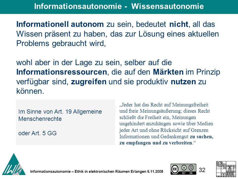 32 Informationsautonomie – Ethik in elektronischen Räumen Erlangen 6.11.2008 Informationell autonom zu sein, bedeutet nicht, all das Wissen präsent zu haben, das zur Lösung eines aktuellen Problems gebraucht wird, wohl aber in der Lage zu sein, selber auf die Informationsressourcen, die auf den Märkten im Prinzip verfügbar sind, zugreifen und sie produktiv nutzen zu können.
