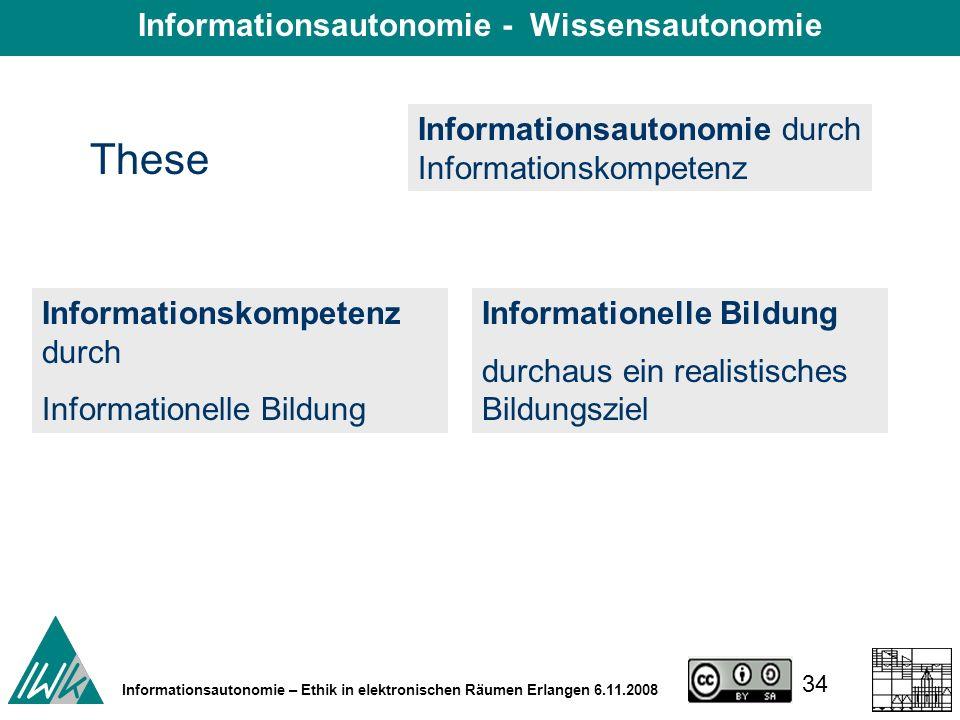 34 Informationsautonomie – Ethik in elektronischen Räumen Erlangen 6.11.2008 These Informationsautonomie durch Informationskompetenz Informationskompetenz durch Informationelle Bildung durchaus ein realistisches Bildungsziel Informationsautonomie - Wissensautonomie
