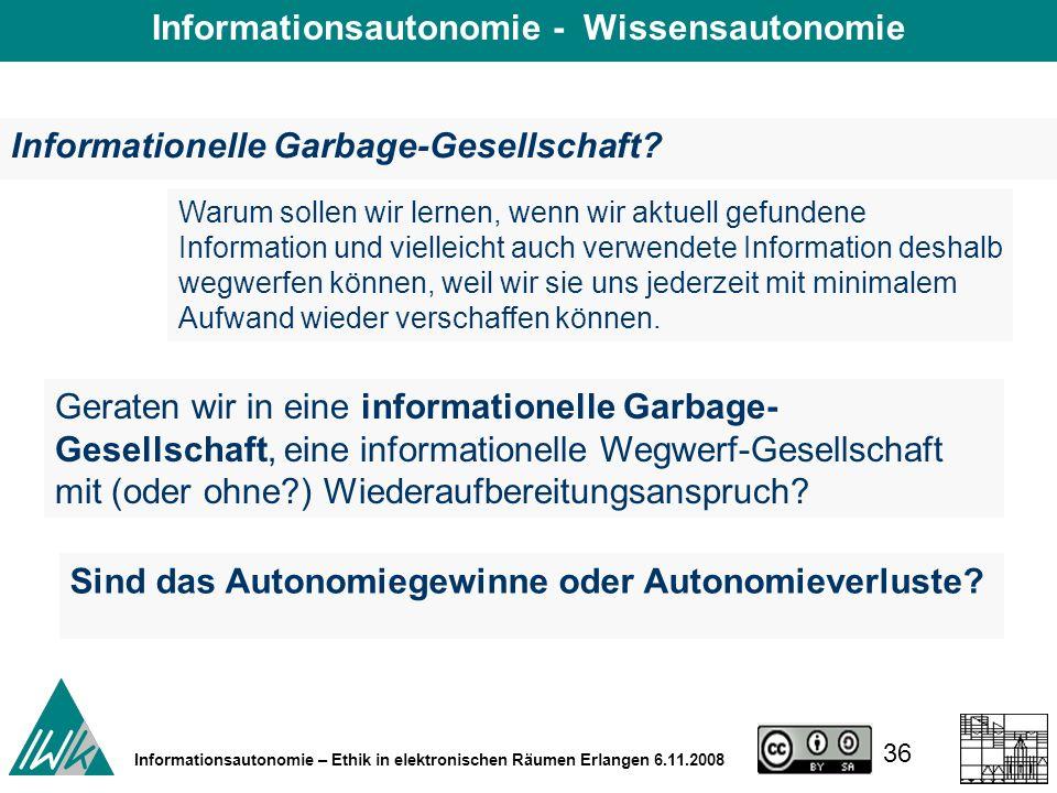36 Informationsautonomie – Ethik in elektronischen Räumen Erlangen 6.11.2008 Informationelle Garbage-Gesellschaft.