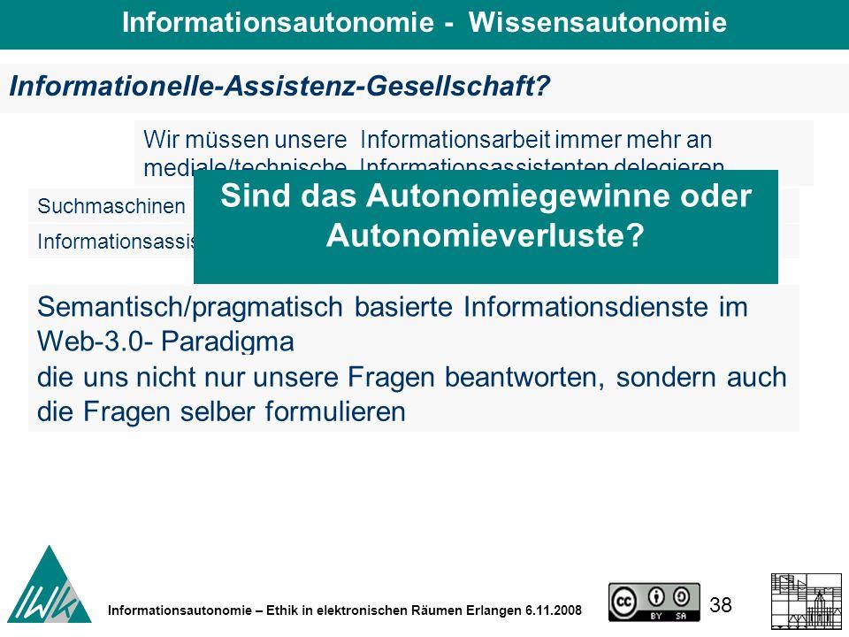38 Informationsautonomie – Ethik in elektronischen Räumen Erlangen 6.11.2008 Informationelle-Assistenz-Gesellschaft.