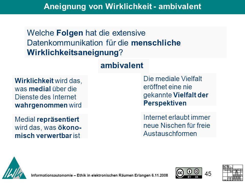 45 Informationsautonomie – Ethik in elektronischen Räumen Erlangen 6.11.2008 Welche Folgen hat die extensive Datenkommunikation für die menschliche Wirklichkeitsaneignung.