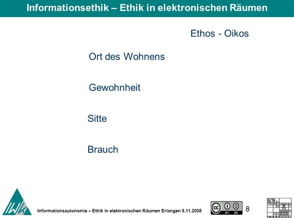 8 Informationsautonomie – Ethik in elektronischen Räumen Erlangen 6.11.2008 Ethos - Oikos Ort des Wohnens Gewohnheit Sitte Brauch Informationsethik – Ethik in elektronischen Räumen