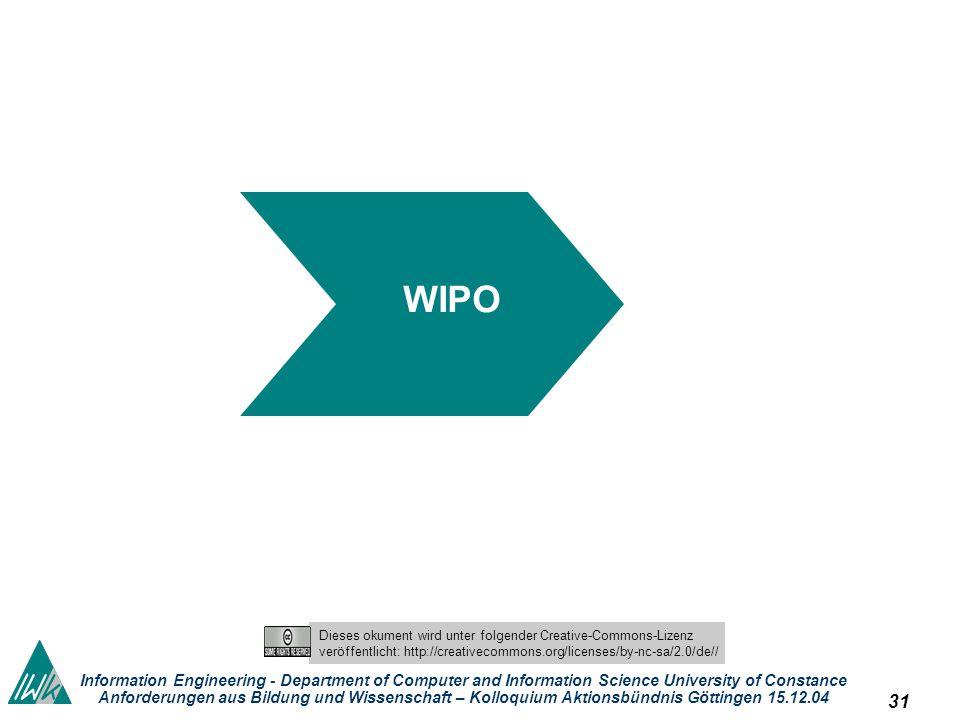 30 Dieses okument wird unter folgender Creative-Commons-Lizenz veröffentlicht: http://creativecommons.org/licenses/by-nc-sa/2.0/de// Information Engineering - Department of Computer and Information Science University of Constance Anforderungen aus Bildung und Wissenschaft – Kolloquium Aktionsbündnis Göttingen 15.12.04 Globale Arenen Internationale Entwicklung – WTO - GATS Liberalisierung von Dienstleistungen auch informationelle auch Bibliotheken auch der audiovisuelle Bereich TRIPS WSIS WIPO UNESCO im Rahmen der bis Ende 2005 laufenden Doha-Runde, also im GATS-Prozess General Agreement on Trade and Services ausgenommen sind lediglich Dienstleistungen, die in Ausübung hoheitlicher Gewalt erbracht werden