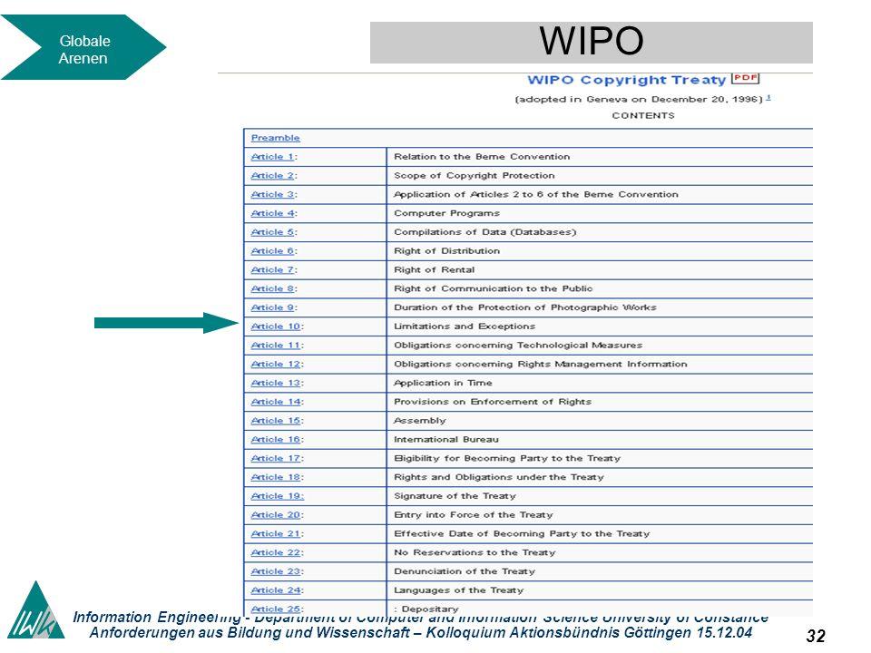 31 Dieses okument wird unter folgender Creative-Commons-Lizenz veröffentlicht: http://creativecommons.org/licenses/by-nc-sa/2.0/de// Information Engineering - Department of Computer and Information Science University of Constance Anforderungen aus Bildung und Wissenschaft – Kolloquium Aktionsbündnis Göttingen 15.12.04 WIPO