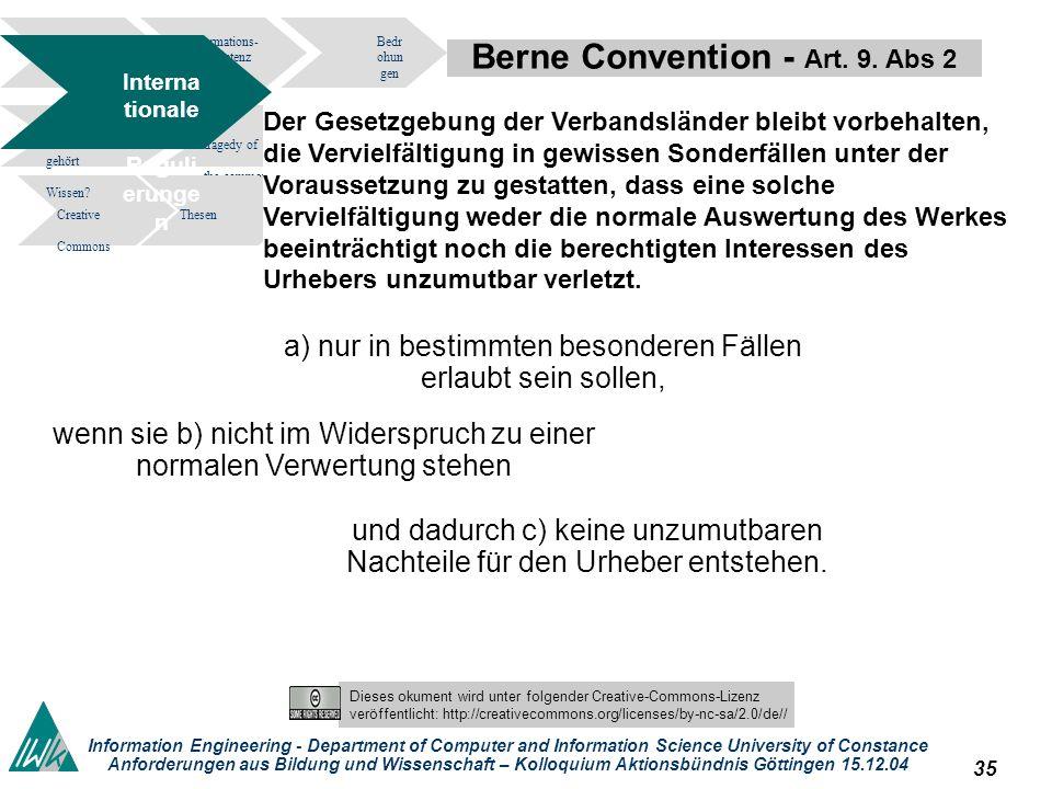 34 Dieses okument wird unter folgender Creative-Commons-Lizenz veröffentlicht: http://creativecommons.org/licenses/by-nc-sa/2.0/de// Information Engineering - Department of Computer and Information Science University of Constance Anforderungen aus Bildung und Wissenschaft – Kolloquium Aktionsbündnis Göttingen 15.12.04 Initiativen.