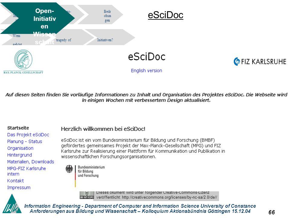 65 Dieses okument wird unter folgender Creative-Commons-Lizenz veröffentlicht: http://creativecommons.org/licenses/by-nc-sa/2.0/de// Information Engin